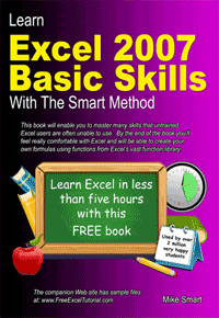 Book Cover - Learn Excel 2007 Basic Skills with The Smart Method