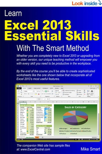 Book Cover - Learn Excel 2013 Essential Skills with The Smart Method