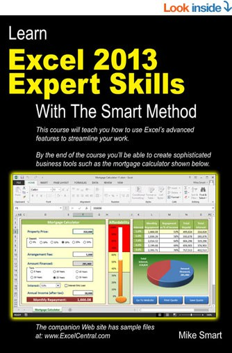 Book Cover - Learn Excel 2013 Expert Skills with The Smart Method