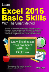 Book Cover - Learn Excel 2016 Basic Skills with The Smart Method