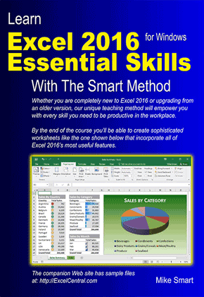 Book Cover - Learn Excel 2016 Essential Skills with The Smart Method