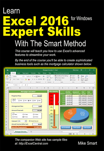 Book Cover - Learn Excel 2016 Expert Skills with The Smart Method
