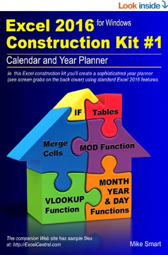 Excel Construction Kit No 1 - Calendar and Year Planner - Front Book Cover