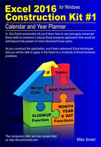 Book Cover - Excel 2016 Construction Kit No 1 - Calendar and Year Planner