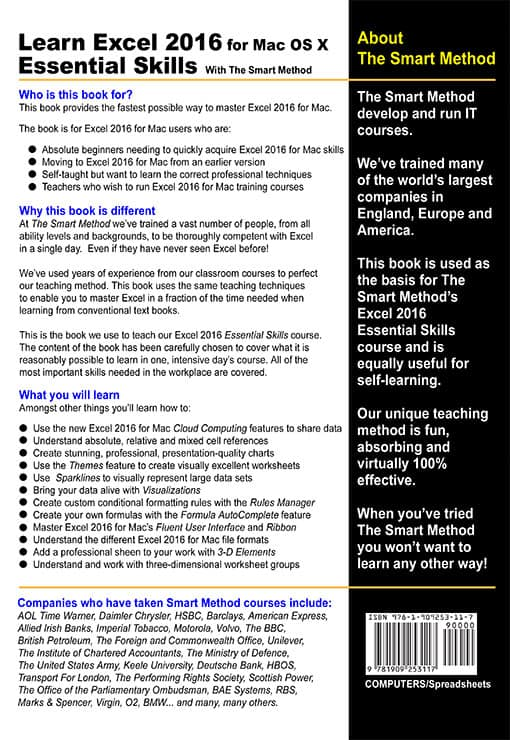 Rear Book Cover - Learn Excel 2016 Basic Skills for Apple Mac with The Smart Method
