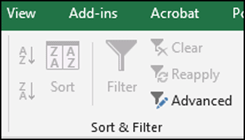 Why are the sort and filter options greyed out? -