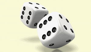 Dice used to illustrate how to use factorial in Excel