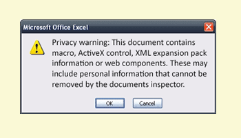 Privacy warning on a Macro-enabled workbook