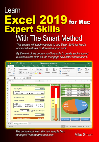 Learn Excel 2019 for Mac Expert Skills with The Smart Method - sample files