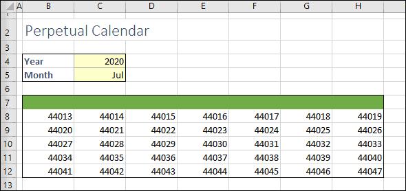 Calendar showing date serial numbers