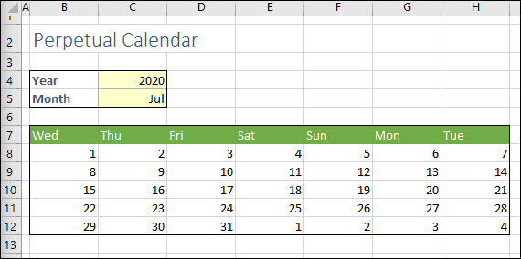 calendar with days of the week header