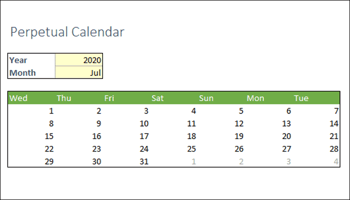 How to create a perpetual calendar in Excel