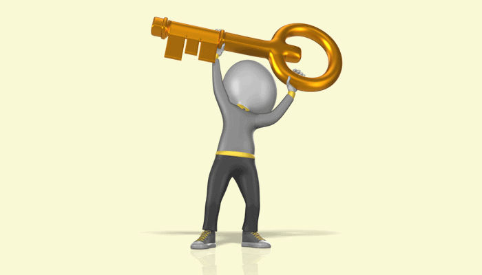 Picture of man holding key over his head