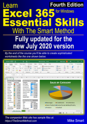 Learn Excel 365 Essential Skills with The Smart Method (fourth edition) front cover