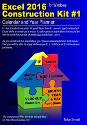 Front Book Cover - Excel 2016 Construction Kit No 1 - Calendar and Year Planner