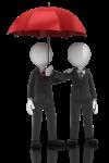 Two businessmen underneath an umbrella