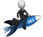 Businessman riding a rocked labelled 365